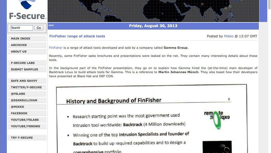 Website von F-Secure: Folien von IT-Unternehmen veröffentlicht