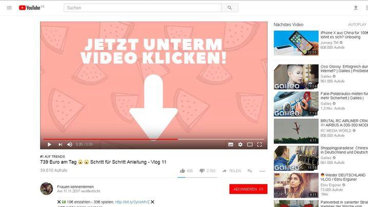 Screenshots: Auf YouTube trenden seltsame Werbeclips