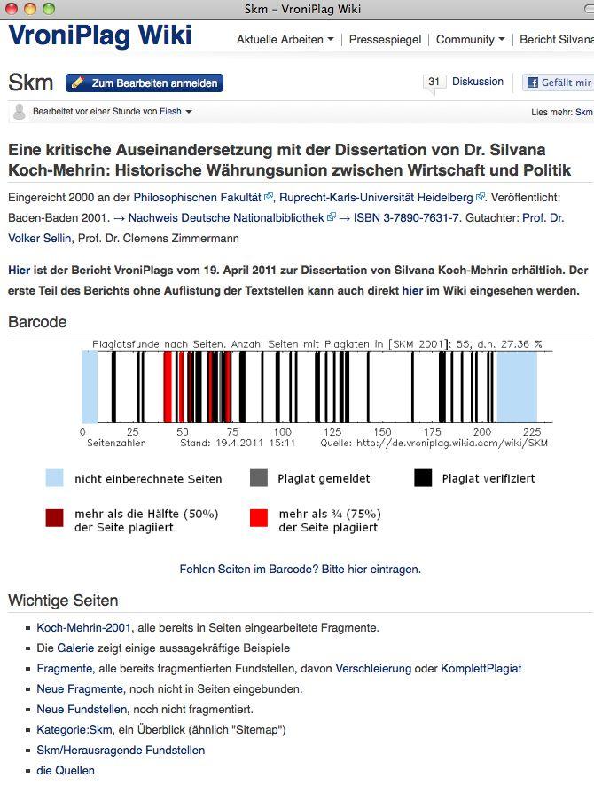 NUR ALS ZITAT Screenshot Plagiat / VroniPlag Wiki