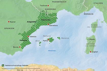 Katalonien, Valencia, Balearen, Andorra, Sardinien: Hier ist Katalanisch für viele Menschen Muttersprache.