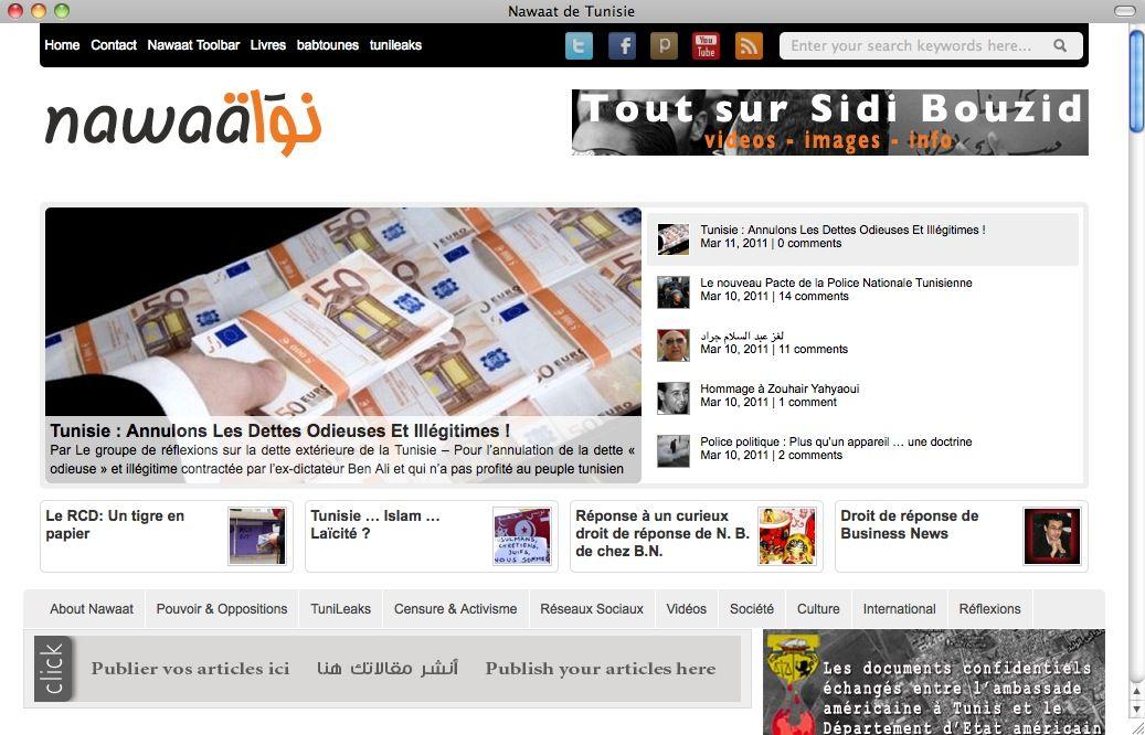 SCREENSHOT Nawaat de Tunisie / Netzwelt