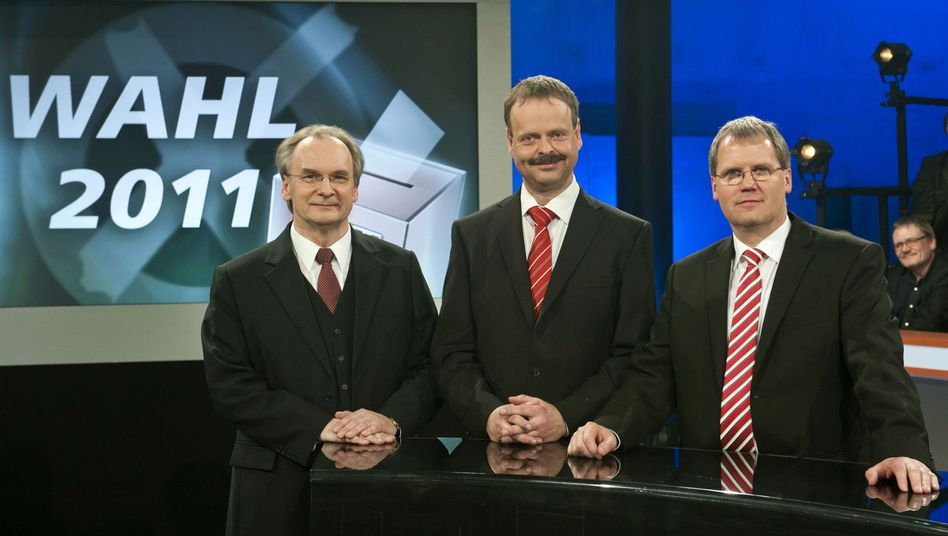Spitzenkandidaten Haseloff, Gallert, Bullerjahn (bei MDR-Runde): Wahlkampf in Watte