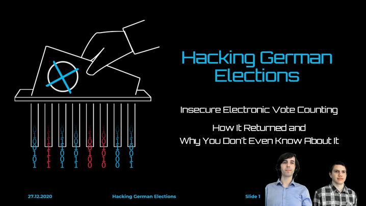 Bild aus dem Vortrag »Hacking German Elections«: Johannes Obermaier (li.) und Tobias Madl