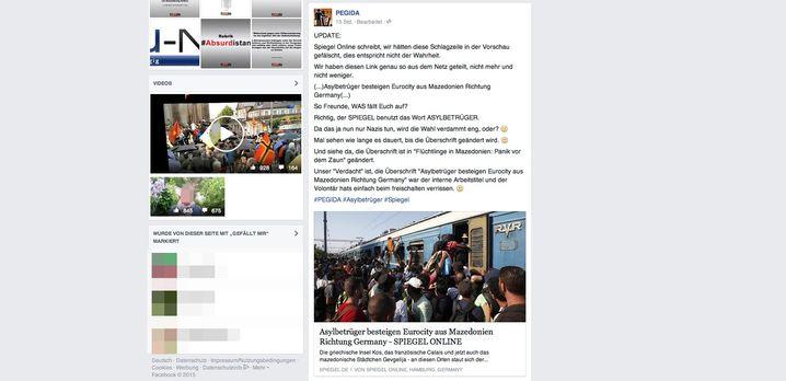 Screenshot: So erschien die gefälschte Überschrift am Sonntag bei Pegida