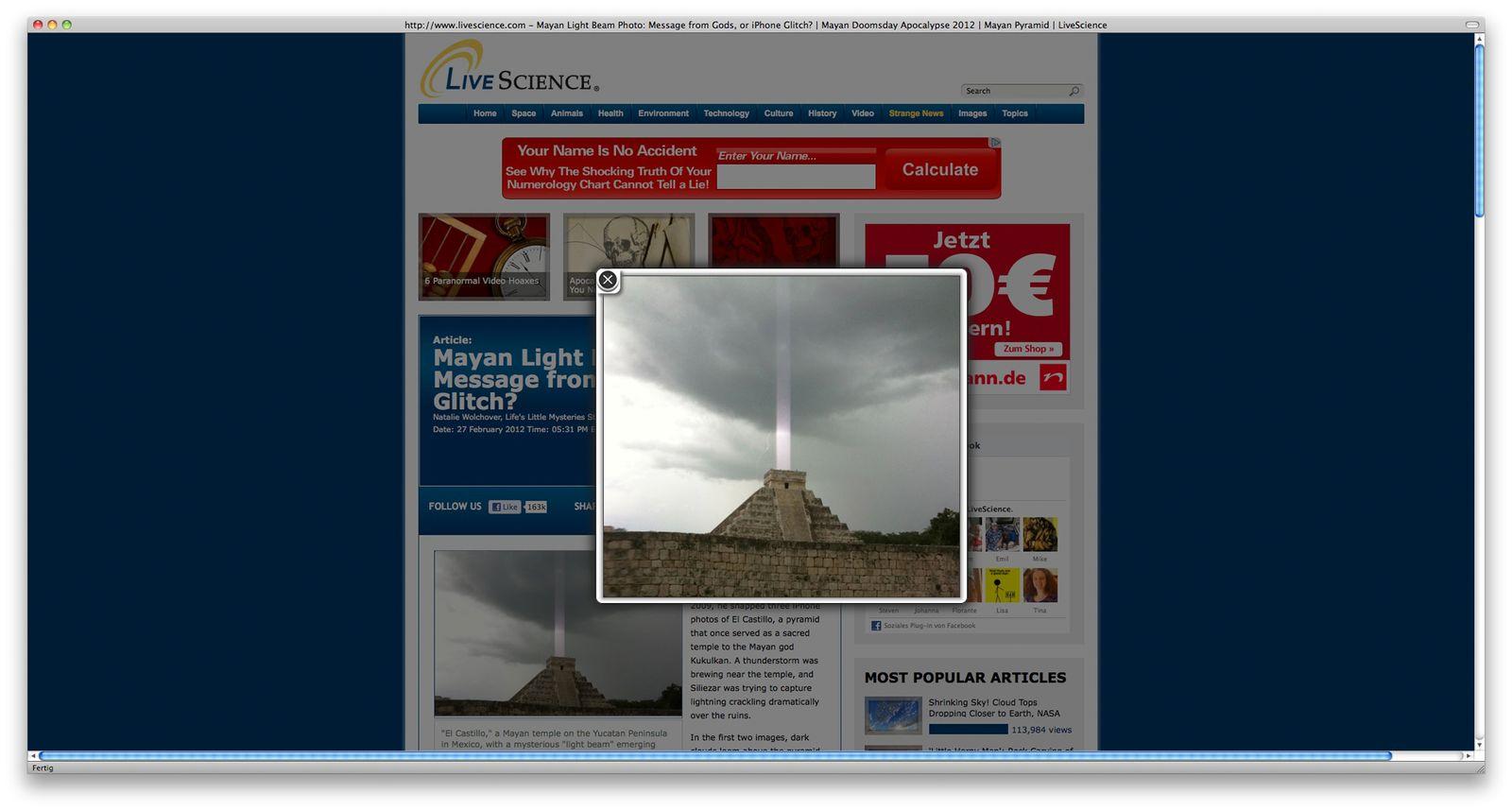 NUR ALS ZITAT Screenshot/ Maya Ruine/ Lichtstrahl