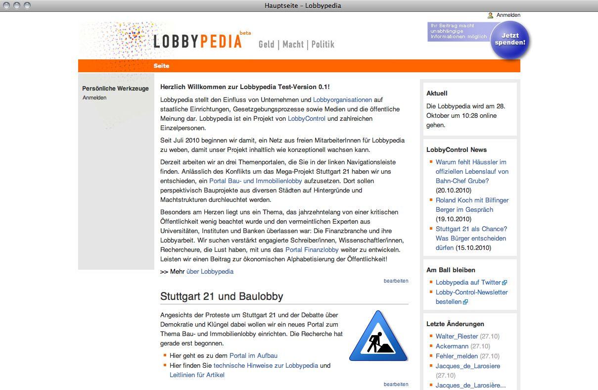 EINMALIGE VERWENDUNG Screenshot Lobbypedia