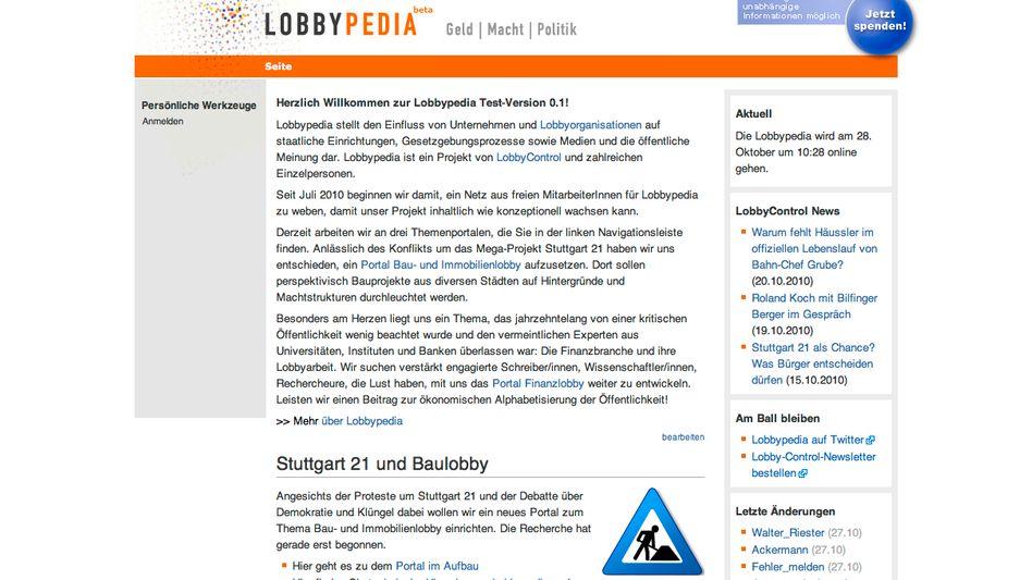 """Online-Portal Lobbypedia (Screenshot): """"Wir setzen auf ehrenamtliche Helfer"""""""