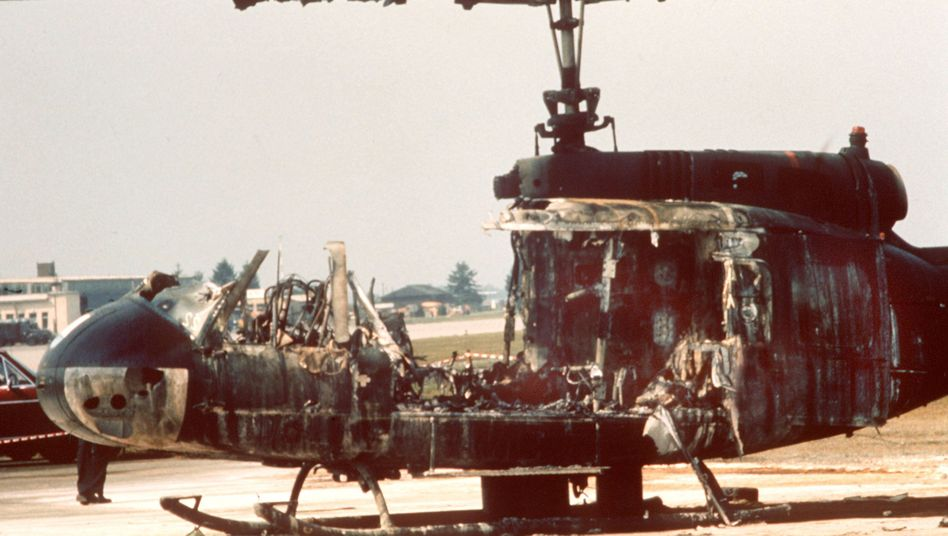 A burned-out helicopter after the deadly attack at the 1972 Munich Olympics.