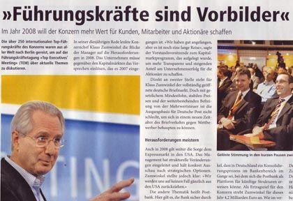 """Zumwinkel in der Post-Mitarbeiterzeitschrift: """"Führungsstil ist der Schlüssel zum Erfolg"""""""