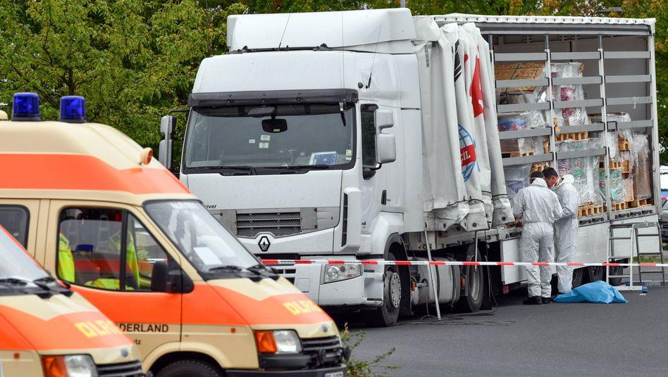Der Lkw, mit dem die Flüchtlinge nach Deutschland geschleust wurden