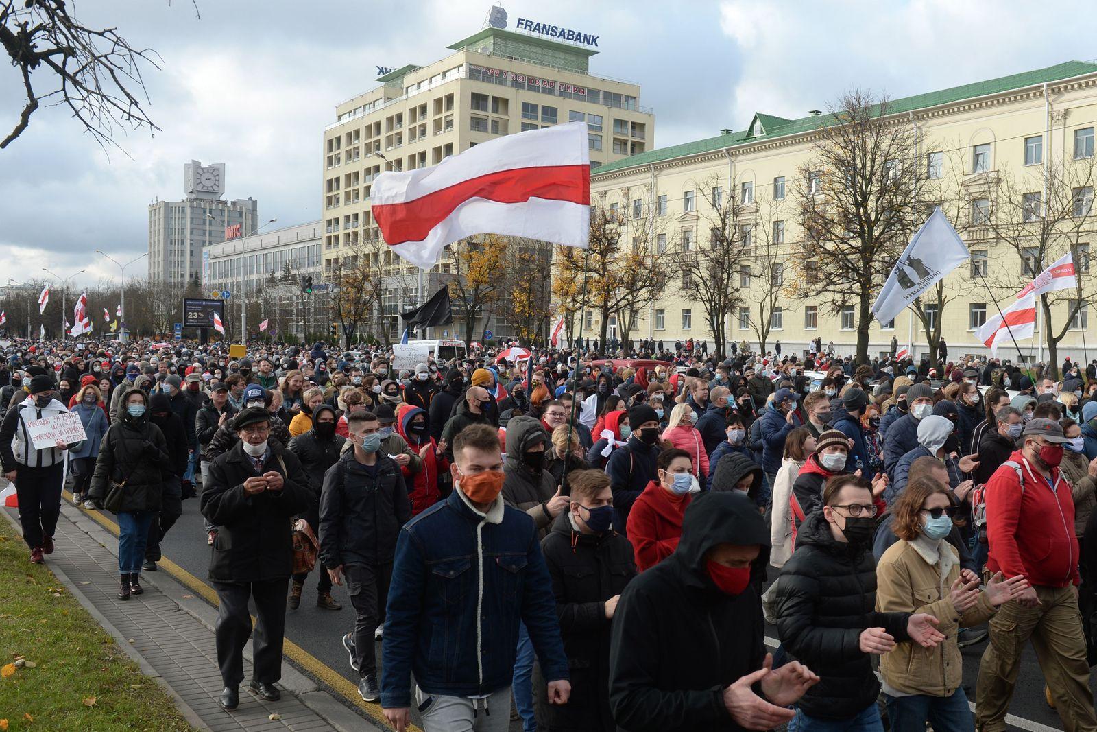 Anti-government protest in Minsk, Belarus - 01 Nov 2020