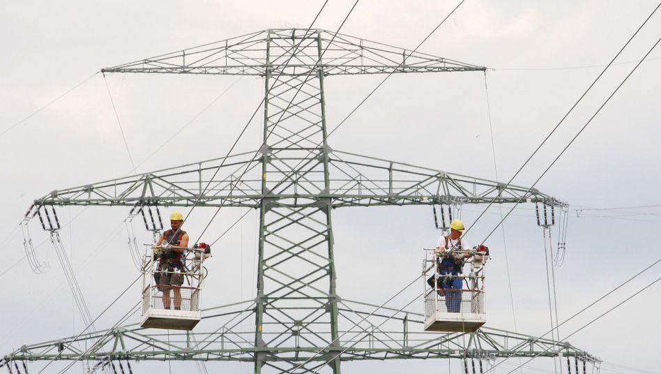 Stromleitungsbau in Brandenburg (Archivbild): 1000 km Leitungen weniger als geplant