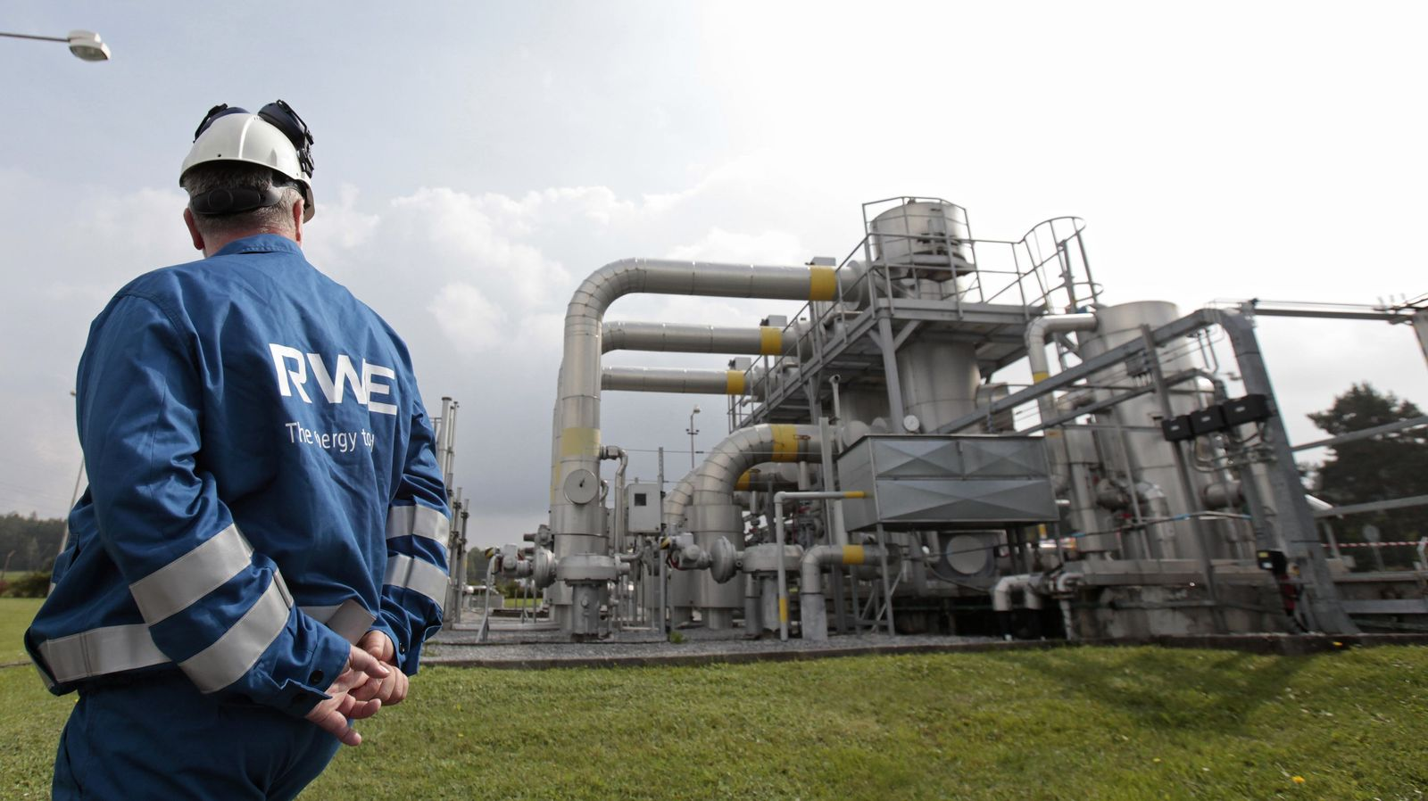 A worker checks pipelines at the gas cavern storage in Haje
