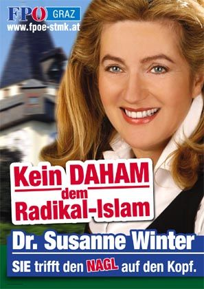 "A Winter campaign poster: ""Don't give radical Islam a home."""