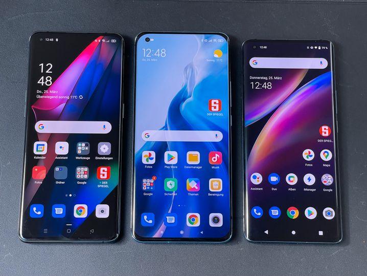Die getesteten Smartphones von Oppo, Xiaomi und Vivo