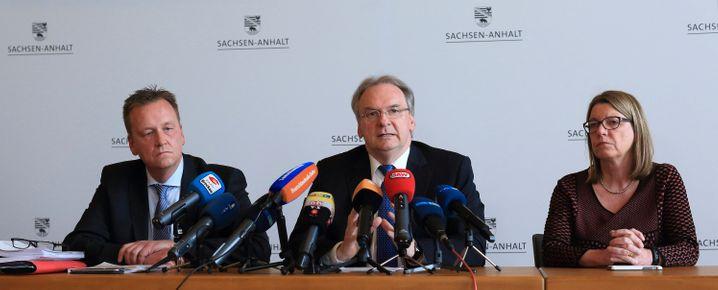 Kenia-Verhandler Burkhard Lischka (SPD), Reiner Haseloff (CDU), Claudia Dalbert (Grüne) im April 2014