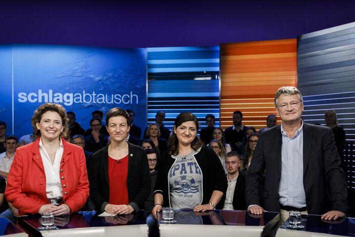 Von links: Nicola Beer, Ska Keller, Özlem Demirel und Jörg Meuthen