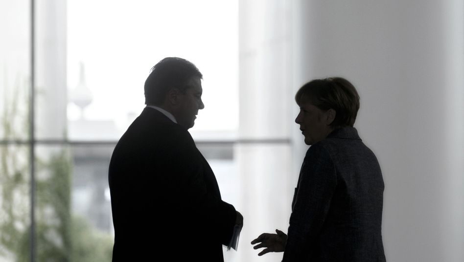 Gabriel und Merkel im Kanzleramt in Berlin