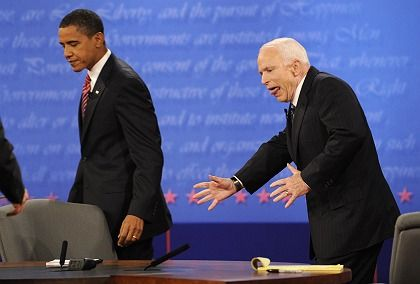 """Republican candidate John McCain at the recent debate with Barack Obama: """"It was McCain's now-or-never moment."""""""