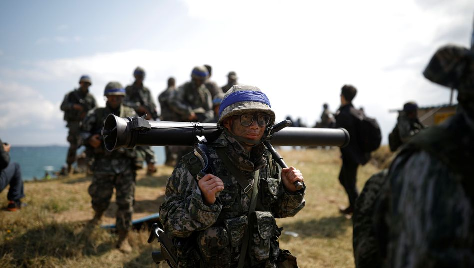 Südkoreanische Soldaten bei einer Übung mit den US-Amerikanern (Archiv)