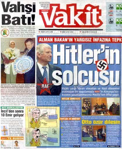 """""""Vakit""""-Titelseite: Union fühlt sich auch beleidigt"""
