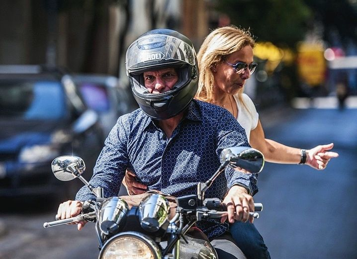 Yanis Varoufakis and his wife Danae Stratou on the day of his resignation in 2015.