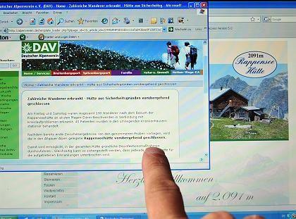 Homepage des Deutschen Alpenvereins: Hinweis auf die geschlossene Rappenseehütte