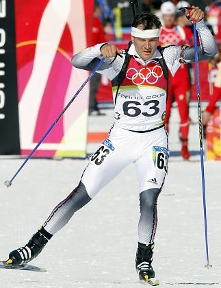 German Sven Fischer at the start of the Men's 20km Biathlon event at the Turin 2006 Winter Olymipcs.