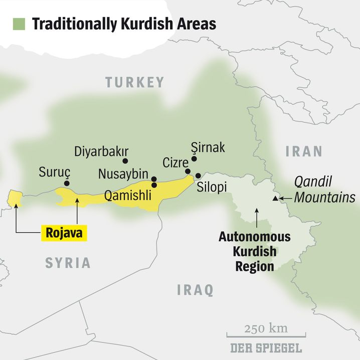 Map: Traditional Kurdish regions in Turkey, Syria and Iraq