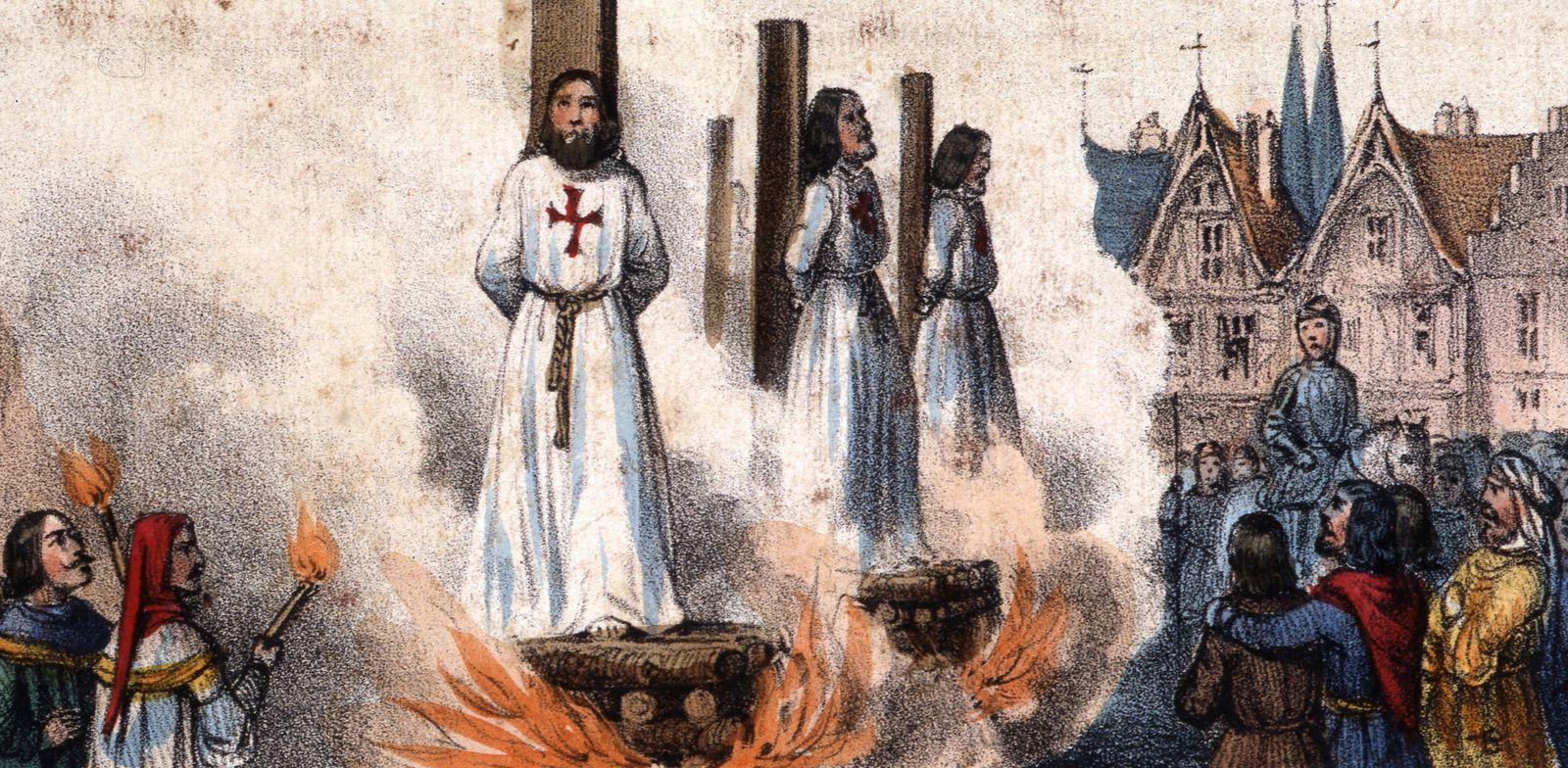 TEMPLIER Supplice des templiers en 1314. Illustration anonyme pour le Loto de l Histoire de France vers 1840. Credit : C