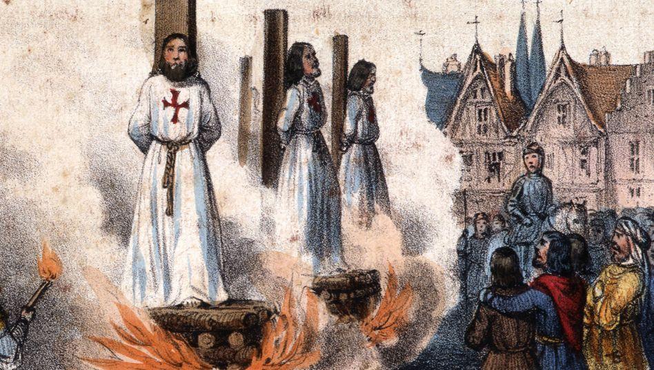 Im Jahr 1314 wurden Tempelritter in Paris auf dem Scheiterhaufen verbrannt (Darstellung um 1840)