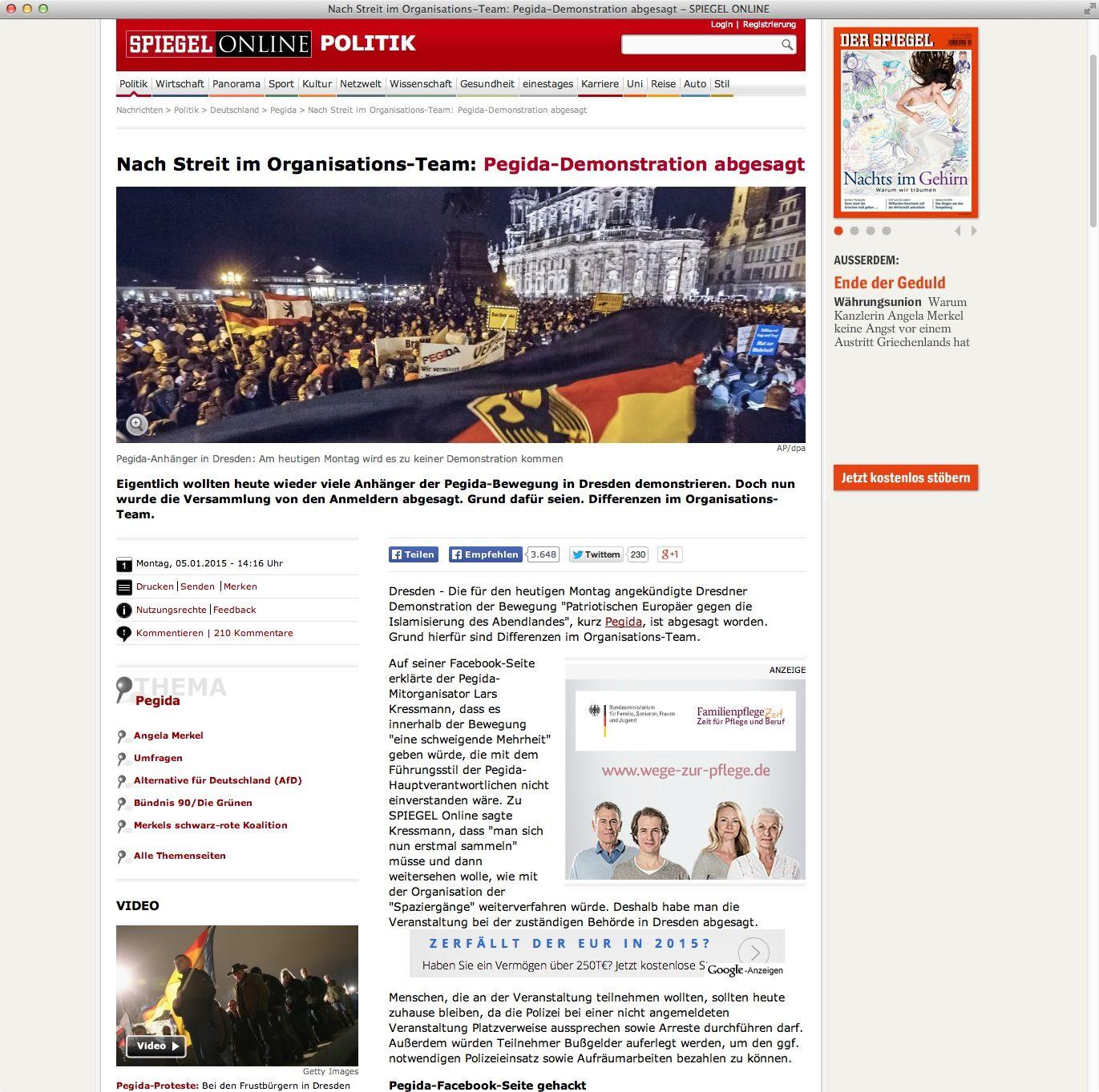 EINMALIGE VERWENDUNG FAKE Screenshot / Postillon / Pegida / Spiegel Online