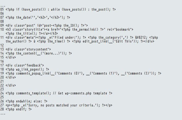 """Der Loop in der Datei """"indes.php"""" des Classic-Themes von WordPress"""