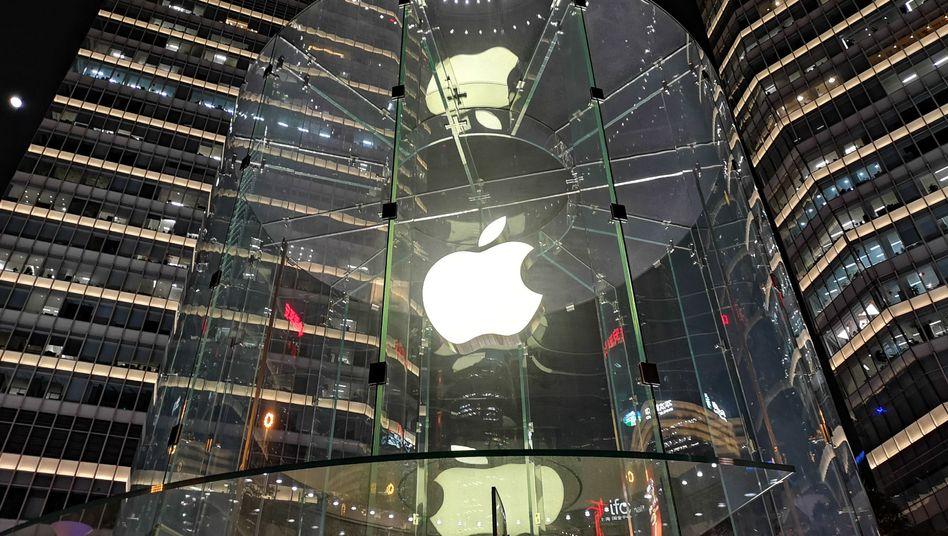 Logo des Technikunternehmens vor einem Store in Shanghai: Apple in China macht dicht