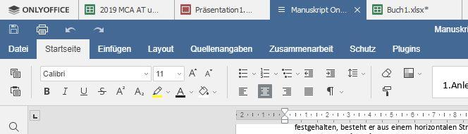 OnlyOffice unterstützt Tabs und kann unterschiedliche Dokumentformate in den Registern halten, also Texte, Tabellen und Präsentationen in beliebiger Mischung