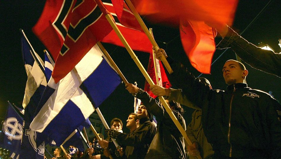 A right-wing extremist march in Athens in 2007