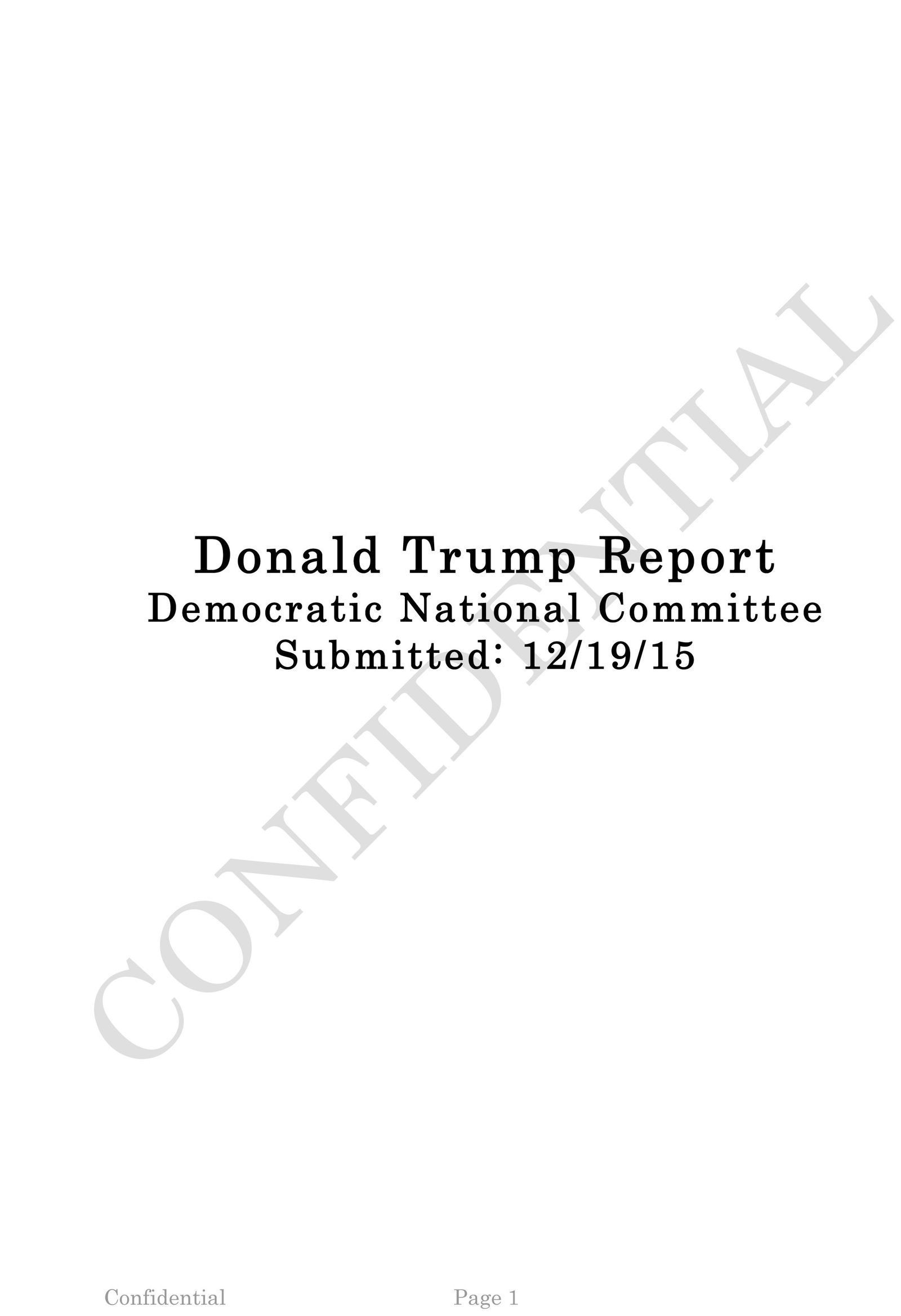 Donald Trump Report/ Guccifer