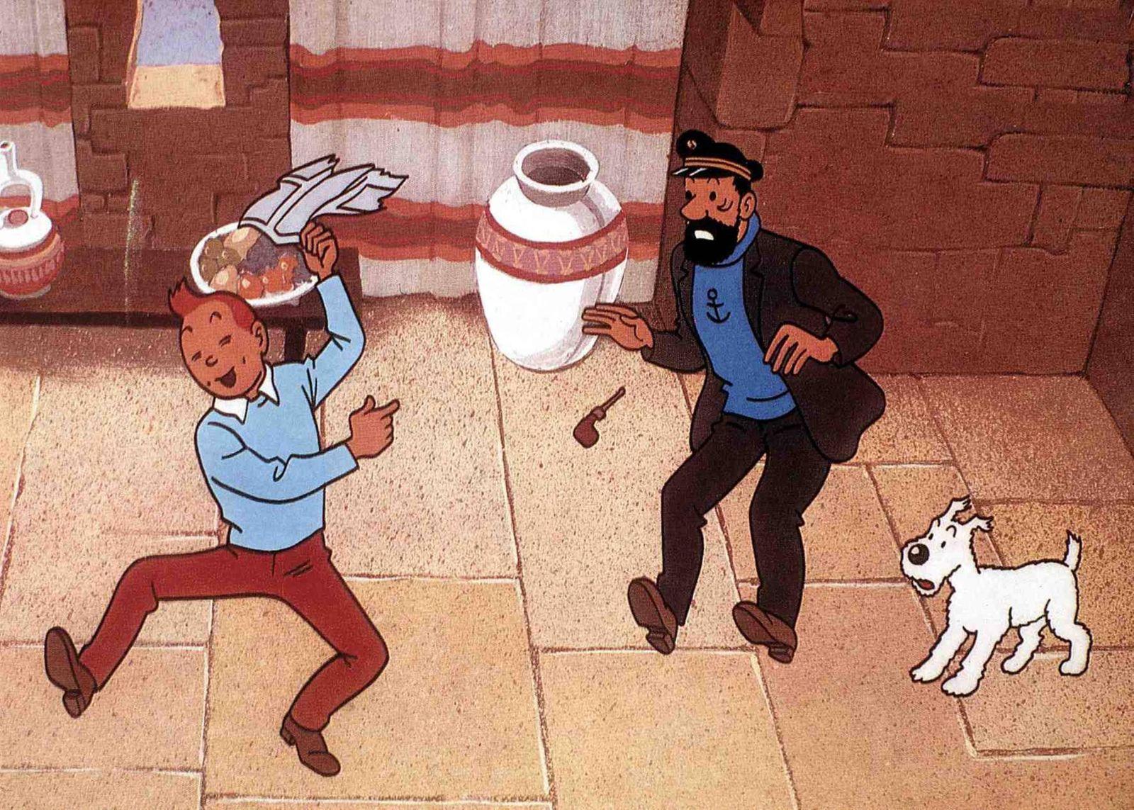 Tim sein Hund Struppi und der whiskyliebende Kapitaen machen sich auf die Suche nach Professor Bien