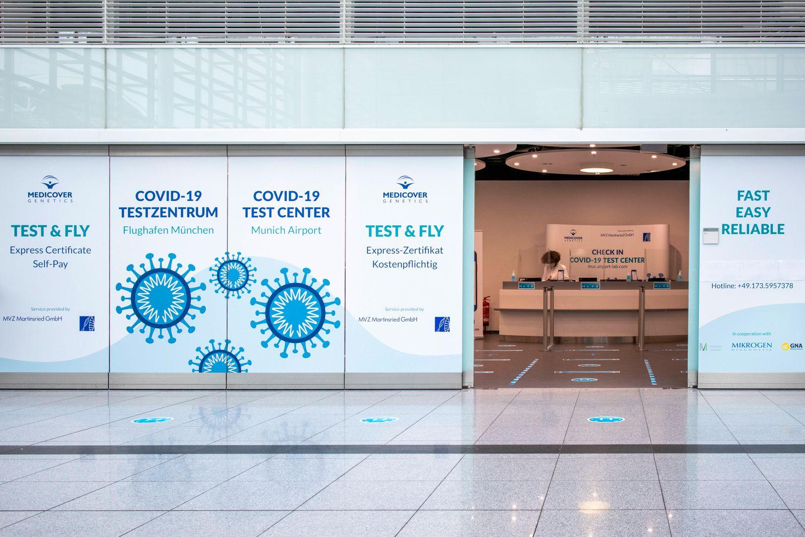 Corona Test Center am Flughafen München *** Corona Test Center at Munich Airport