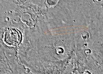 Landeellipse auf der Meridiani-Ebene: Relativ geringe Kraterdichte
