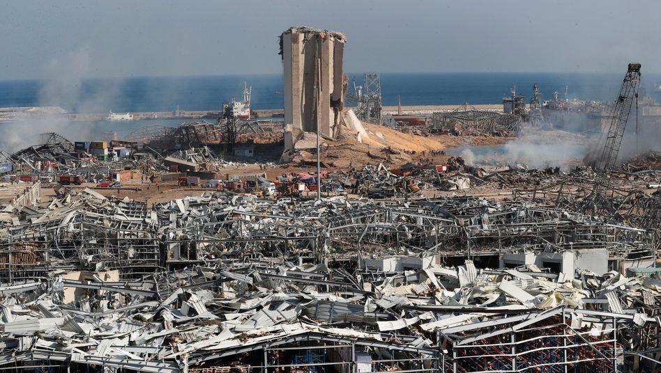Das Hafengelände direkt nach der Katastrophe