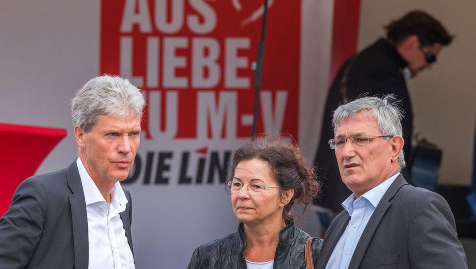 Landtagsfraktionschef Helmut Holter, Landeschefin Heidrun Bluhm, Parteichef Bernd Riexinger (v.l.)