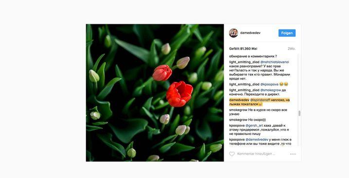 """Screenshot von Medwedews Instagram-Account: Seine Antwort auf die Frage des Users @ispiridonoff """"Hallo! Wie war Dein Tag?"""" am Tag der Anti-Korruption-Demos in Russland: """"Nicht schlecht. Ski gefahren""""."""