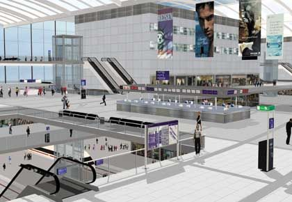 A computer simulation of BBI Berlin-Brandenburg Airport expected to open in 2011.