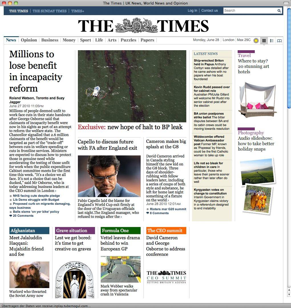 Screenshot / Times / WM 2010