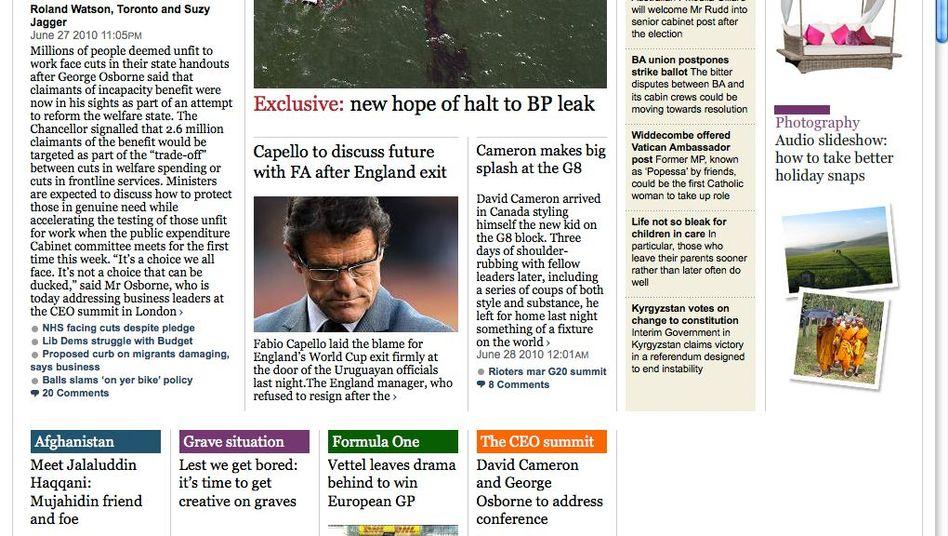 """Screenshot der Online-Ausgabe der """"Times"""" (Archiv): Zwei Tage lang ohne Bezahlschranke"""