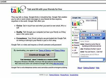 Google-talk-Webseite: Nutzer wird nur, wer eingeladen wird