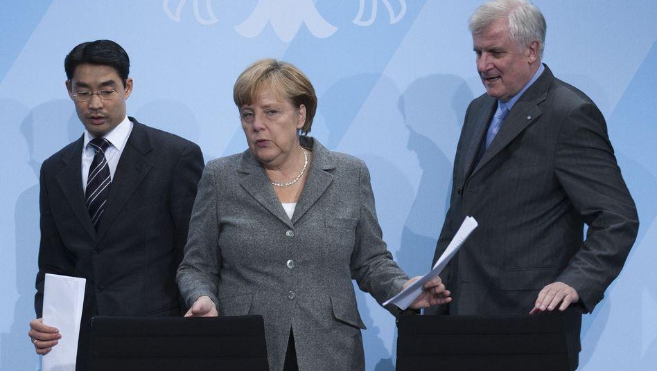 """Parteichefs Rösler, Merkel, Seehofer (Archivbild): """"Ausnehmend wichtiger Termin"""""""