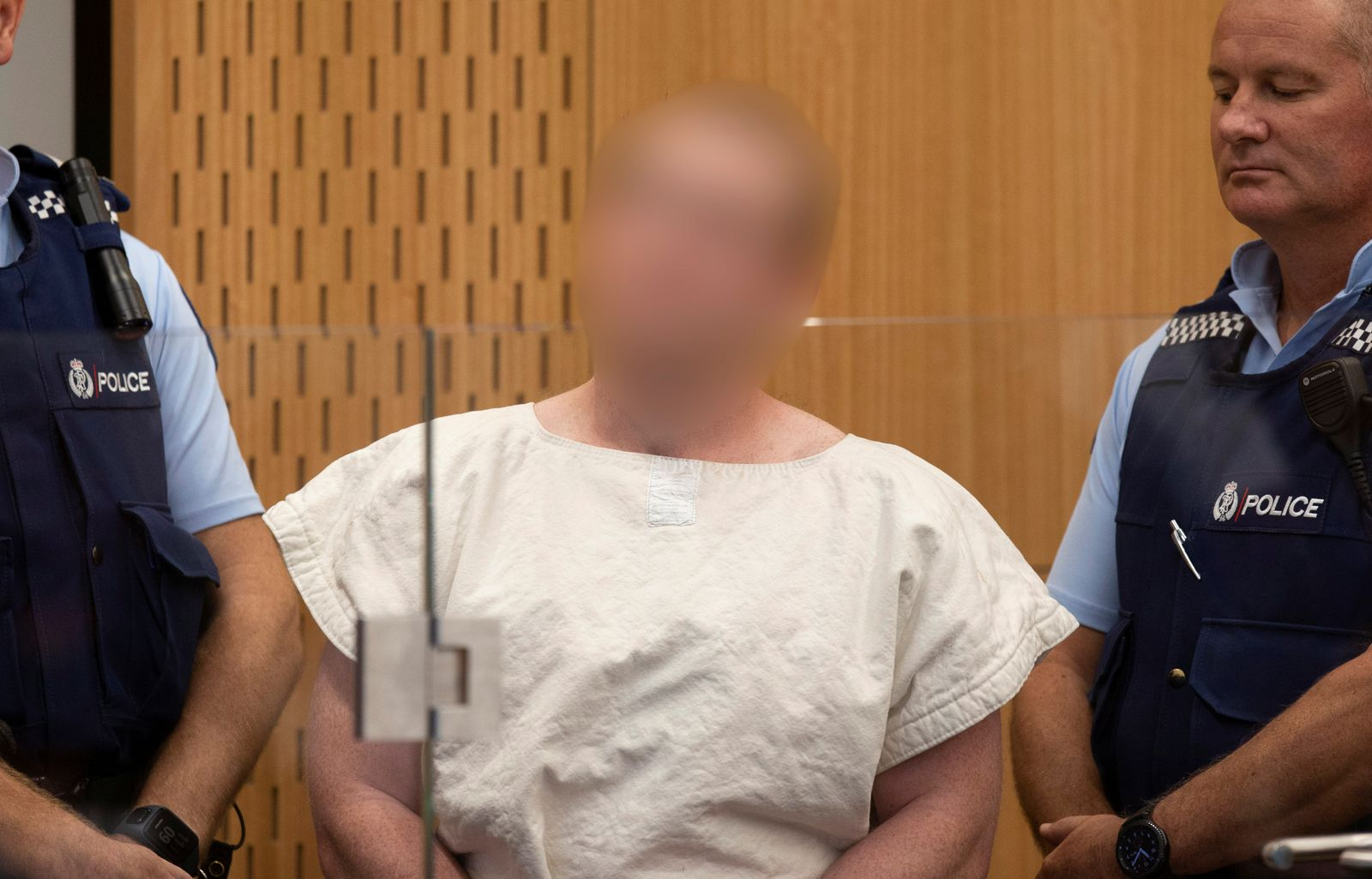 Brenton Tarrant, charged for murder in relation to the mosque attacks, is seen in the dock during his appearance in the Christchurch District Court