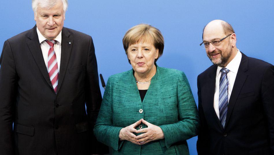 Party leaders Horst Seehofer (CSU), Angela Merkel (CDU) and Martin Schulz (SPD)